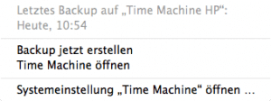 Time Machine Dropdown Menü