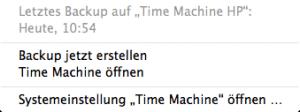 Time Machine Dropdown Menü