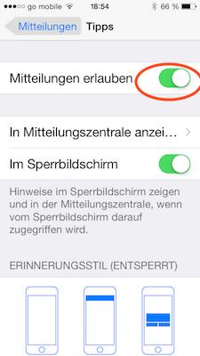 Tipps App in Mitteilungen am iPhone oder iPad ausschalten