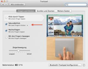 Rechtsklick unter Mac OS X einstellen