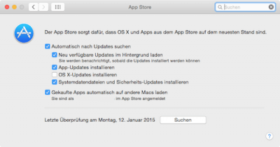 Mac OS X Updates aus dem App Store konfigurieren