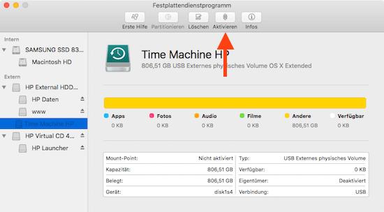 Volumen mounten unter Mac OS X mit Festplattendienstprogramm
