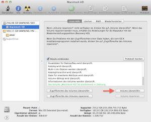 Das Volumen unter Mac OS X überprüfen und reparieren