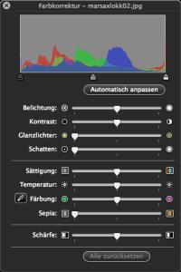 Mit der Farb-Korrektur in der Werkzeugleiste der Vorschau App Bilder bearbeiten