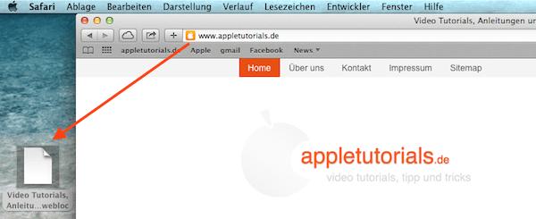 Webseiten unter Mac OS X auf den Schreibtisch ziehen