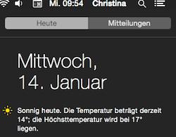 Wetter Widget in der Mitteilungszentrale unter Mac OS Yosemite