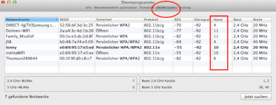 WLAN Scanner unter Mac OS X Mavericks aufrufen