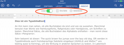 Lineal in Word für iPad & Seitenbreite einstellen