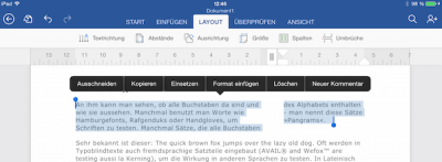 Spalten einfügen in Word Dokument auf dem iPad