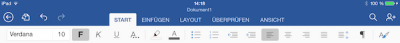 Formatierungsleiste auf dem iPad