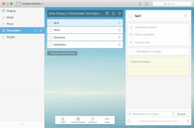 Aufgabenverwaltung mit Wunderlist für Mac