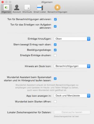 Einstellungen in Wunderlist App für Mac OS X