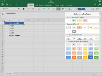 Formatvorlagen für Excel Zellen auf dem iPad