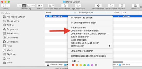 Dateien und Ordner als Zip-Datei erstellen
