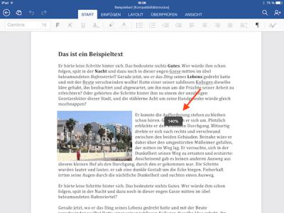 Office Dokumente auf iPad oder iPhone größer darstellen