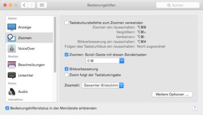 Bedienungshilfe Zoom für größeren Mac Bildschirm